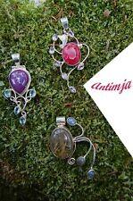 Kettenanhänger Roh Rubin Amethyst Rutilquarz Lavendel Jade Sterling Silber