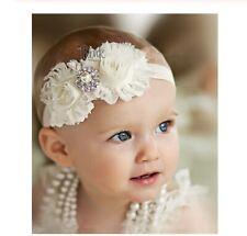 Fascia capelli bambina neonata bianco /rosa cerimonia matrimonio feste battesimo