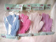Nuevo Par Guantes de ducha baño exfoliante elimina piel muerta Púrpura Rosado Blanco Azul