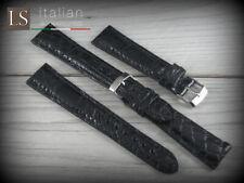 Cinturino in Pelle LS COCCODRILLO Bombato Lucido 18 20 22 Watch Strap Band Nero