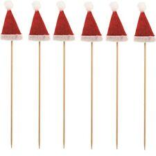Rouge Père Noël Chapeaux Fête Nourriture Bâton Piques Décoration Gâteau