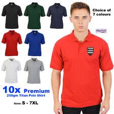 10x Personalised Embroidered Polo Shirt PREMIUM 250gm Custom FREE TEXT & LOGO