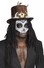 Voodoo Steampunk Zylinder Hut mit Knochen Haar Pirat Barock Kostüm Herren Damen