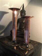 Stunning Rose Gold Metallic Glass Ribbed Classic Pillar Candlestick Two Sizes
