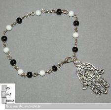 Bracelet CHAPELET MAIN de FATMA KHAMSA HOMME ou FEMME perles NOIR & BLANC NEUF