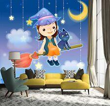 3D Mond-Hexe Fuchs Fototapeten Wandbild Fototapete Bild Tapete Familie Kinder