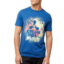 Crema UFFICIALE Ibiza Uomo T-Shirt Logo Blu Pittura Splash AMNESIA Club Merch