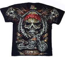 Skull Head MOTO HD-tshirt M L XL XXL CHOPER motivo High Defintion pressione