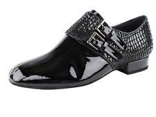 Men's Latin Salsa Wedding Dance Shoes Black Patent Buckle 1 inch Very Fine