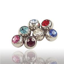 4mm Titan Piercing Klemmkugel mit Kristall  Lippen Ohr Bauchnabel Intim Piercing