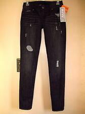 $198 Celeb Fave Genetic Denim Shane Skinny Coal Black Distress Leggings Jeans 24