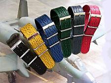 NATO G10 ® Shark skin calf Leather watch band strap UTC RAF stitched IW SUISSE