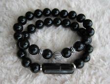 Ladies Men's Onyx Agate Gem Bracelet with Tibetan Silver Spacers & Bar.