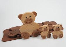 4+1 Teddy Bears Animal Novelty Chocolate Candy Bar Silicone Mould Lolly Lollipop