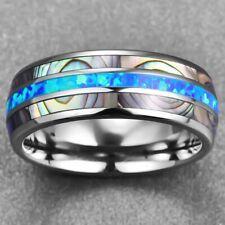 Eingelegt Blau Opal Wolfram Stahl Herren Ringe Verlobungsring Men Hübsch ElkYu