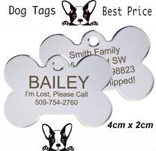 Engraved Pet Tags Nickel DOG ID Disc Free P&P Deep Engraving Name Identity