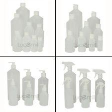 Natural HDPE PLASTIC BOTTLES ***CHOOSE (WHITE) CAP TYPE & BOTTLE SIZE***