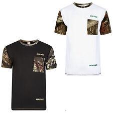 Men's Short Sleeve Jungle Print T-shirt Fishing Camouflage Top Pocket S to 2XL