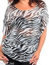 Zebra Animal Stripe Sheer Chiffon Flutter Sleeve Plus Top