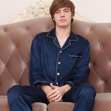Mens Silk Satin Pajamas Pyjamas PJS Homewear Nightwear Sleepwear Loungewear