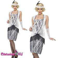 Ladies 20s 1920s Flapper Costume Ganster Chicago Charleston Fancy Dress Up
