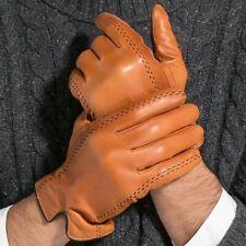 Touch Screen Fashion Gloves Genuine Leather Goatskin Winter Mens Warm Mittens