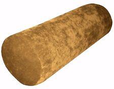 ma19g Pale Gold Brown Sofa Chenille Velvet Bolster CASE Neck Roll Cushion COVER