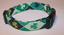 Wet Nose Designs Shamrock Argyle Dog Collar St Patricks Day Irish Green Diamonds