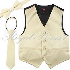 New Kid Brand Boy's Tuxedo Vest, Zipper Neck Tie & Bow Tie 3 in 1 Set Beige