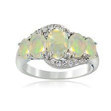 Sterling Silver 1.2ct TGW Ethiopian Opal & White Topaz 5-Stone Ring