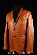 Men's MILANO Tan Washed Lambskin 2 Button Smart Classic Leather Blazer Jacket