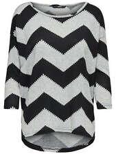 Mujer Extra Grande Camisa de Jersey Onlelcos 4/5 Aop Top Noos Zigzag Negro Gris