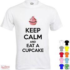 T-Shirt Keep Calm and Eat Cupcake Maglietta Uomo-Donna Bianca-Colorata