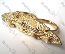 BIG LEAF feather DOUBLE RING rhinestone CRYSTAL gold/silver diamante O/Q rings