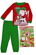 Kids Rudolph Santa Christmas Pajamas Coloring Book Gift Set Baby Sz 12M 18M 24M