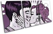 Retro Pop Art Kissing Purple Love TREBLE TOILE murale ART Photo Print