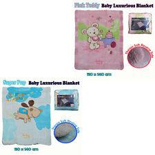 Super Pup Or Pink Teddy Baby Nursery Coral Fleece Cot Blanket 110 x 140cm