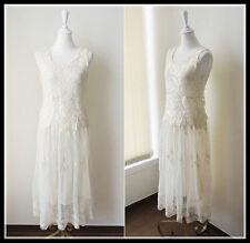 FREE GIFT ~ VTG BOHO FLORAL CROCHET LACE FESTIVAL BRIDESMAID BEACH WEDDING DRESS
