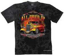 T Shirt Batik black V8 Oldschool Hot Rod US Car-& `50 Stylemotiv Modell All Fire
