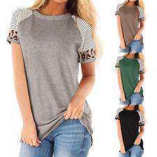 Damen Leopard Patchwork Rundhals Kurzarm T-Shirt Klassisch Süßes Sommer Tops