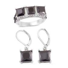 BLACK SIMULATED DIAMOND WHITE AUSTRALIAN CRYSTAL PRINCESS PAVE TRILOGY RING SET