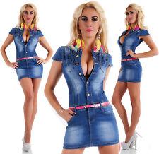 SEXY NEUF femmes Denim Jeans Bleu Mini Robe été inclus Ceinture Y 469