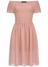 36% OFF B19076517 Damen Violet Kleid Knielang Chiffon Off Shoulder Dress rosa