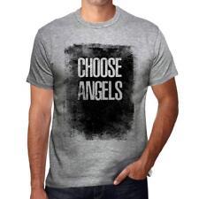 Homme T shirt Graphique ImprimŽ Vintage Tee Choose ANGELS Gris Chine