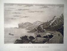 M Arona lago Maggiore Novara Carocci 1840 acquatinta originale