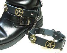 Pair Steampunk Boot Strap-Black-Silver-Brass Wheels-Biker-buckle Accessory