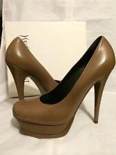 YSL Yves Saint Laurent Tribute Leather Beveled Platform Heels Pumps Shoes $850