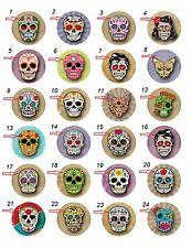 "1.25"" Pinback / Fridge Magnets / Flatback Buttons Sugar Skull (Approx.32mm)"