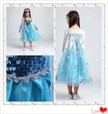 NUOVO Ragazze Frozen Principessa Elsa Stile Costume Costume Party Dress 4-7 anni
