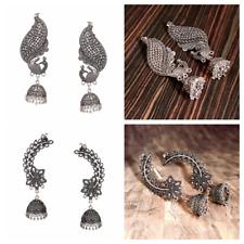Oxidized Silver Plated Bollywood Ear-cuff jhumka jhumki Earrings women Free ship
